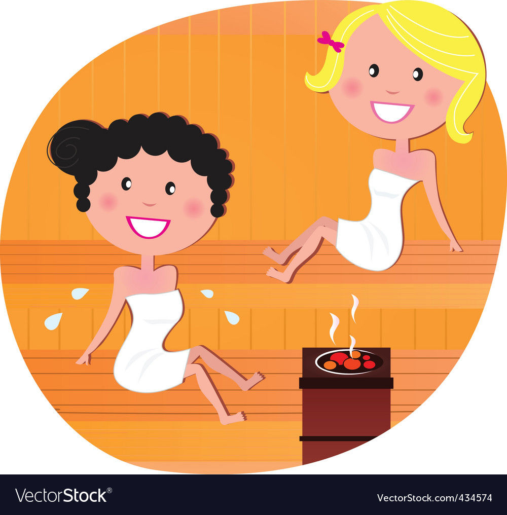 Cute woman friends in sauna vector | Price: 1 Credit (USD $1)