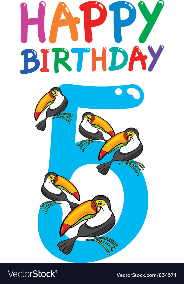 Fifth birthday anniversary card vector | Price: 3 Credit (USD $3)