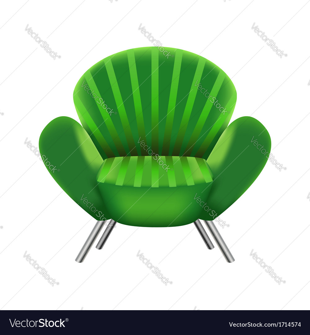 Green armchair on white background vector | Price: 1 Credit (USD $1)
