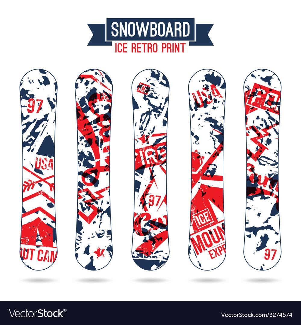 Ice retro print for snowboard vector | Price: 1 Credit (USD $1)