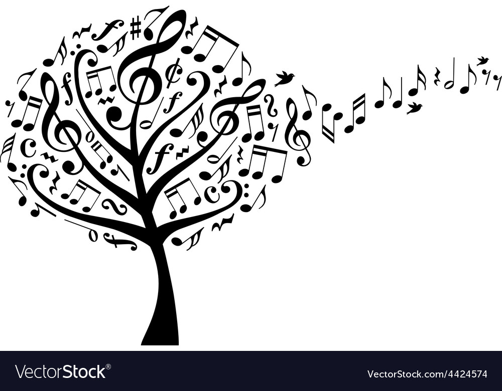 Music tree with notes vector | Price: 1 Credit (USD $1)