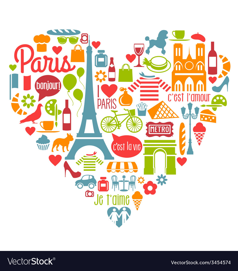 Paris france icons landmarks attractions vector