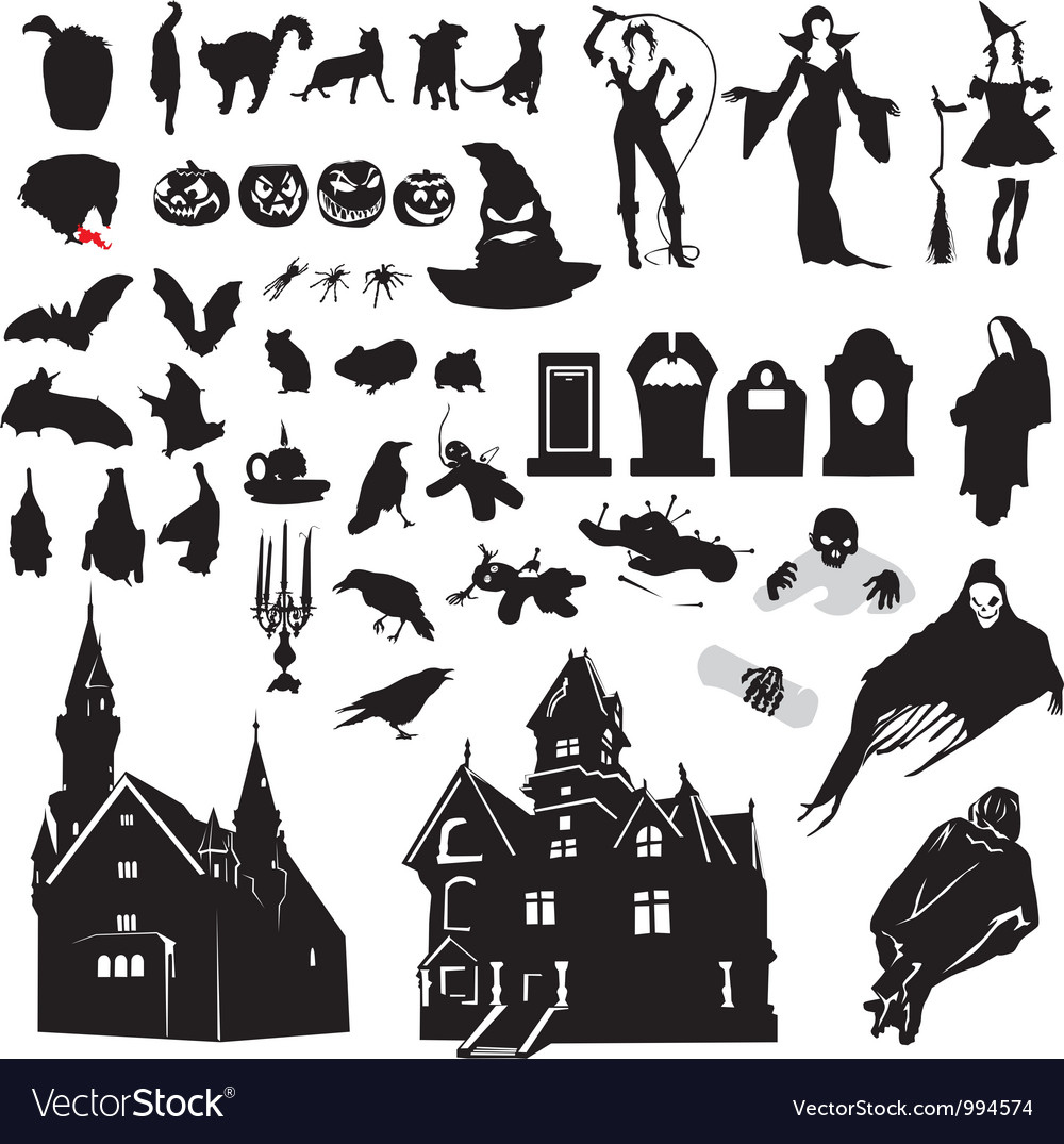 Set of silhouettes symbolizing halloween vector | Price: 1 Credit (USD $1)