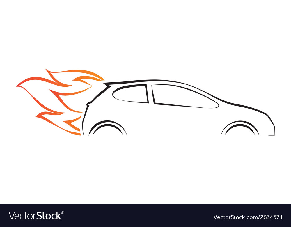 Silhouette of car with fire vector | Price: 1 Credit (USD $1)