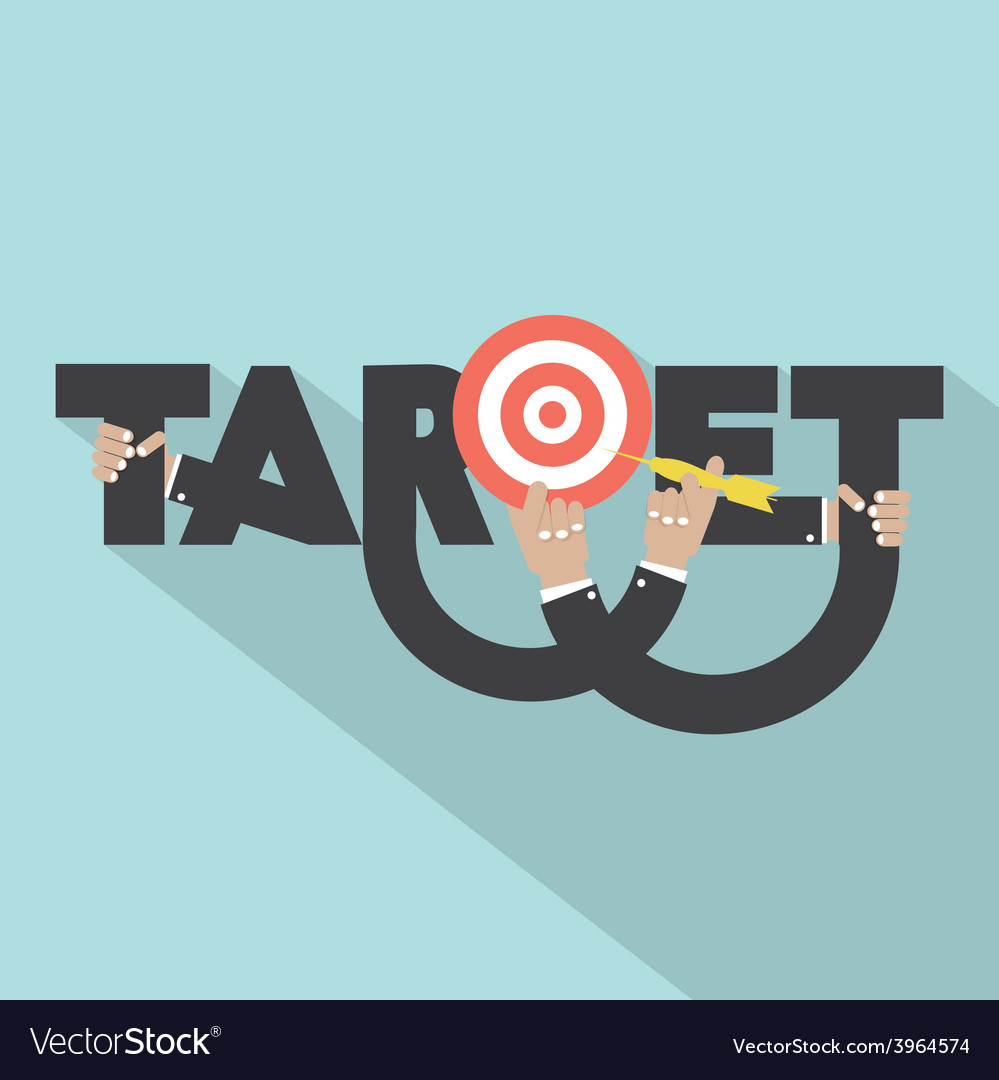 Target with dart arrow in hand typography design vector | Price: 1 Credit (USD $1)