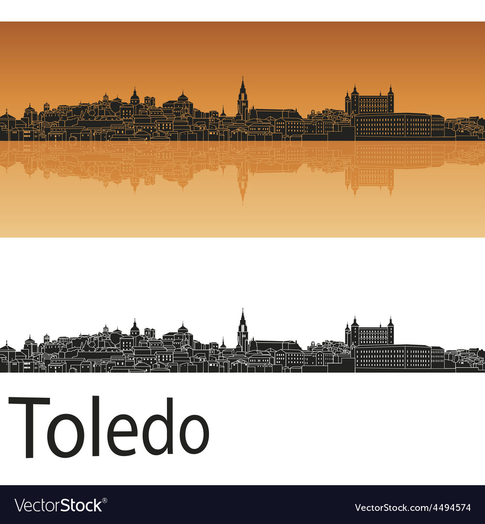 Toledo skyline in orange background in editable vector | Price: 1 Credit (USD $1)