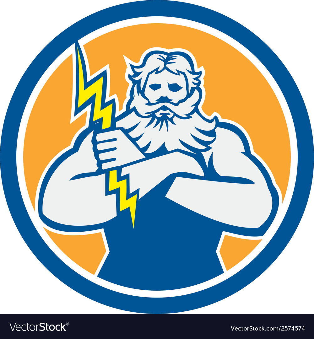 Zeus greek god arms cross thunderbollt circle vector | Price: 1 Credit (USD $1)