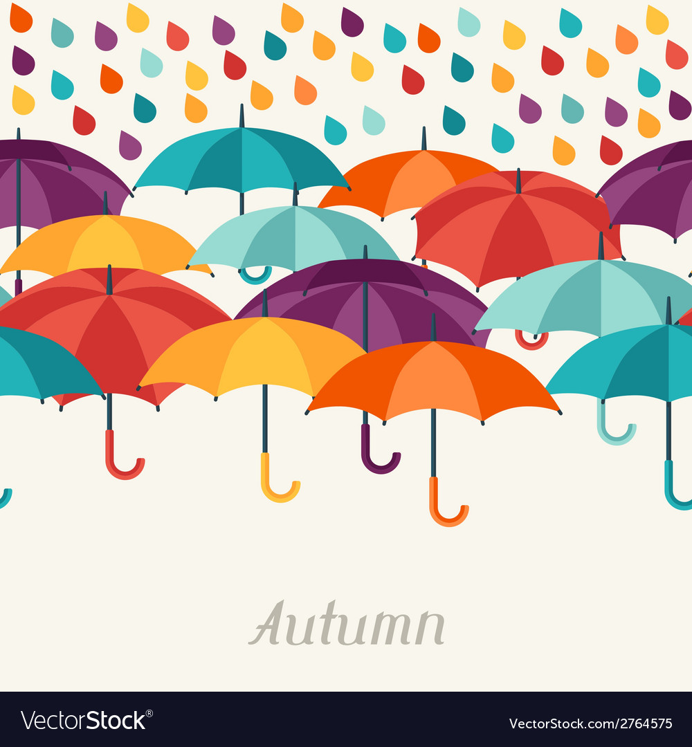 Autumn background with umbrellas in flat design vector | Price: 1 Credit (USD $1)