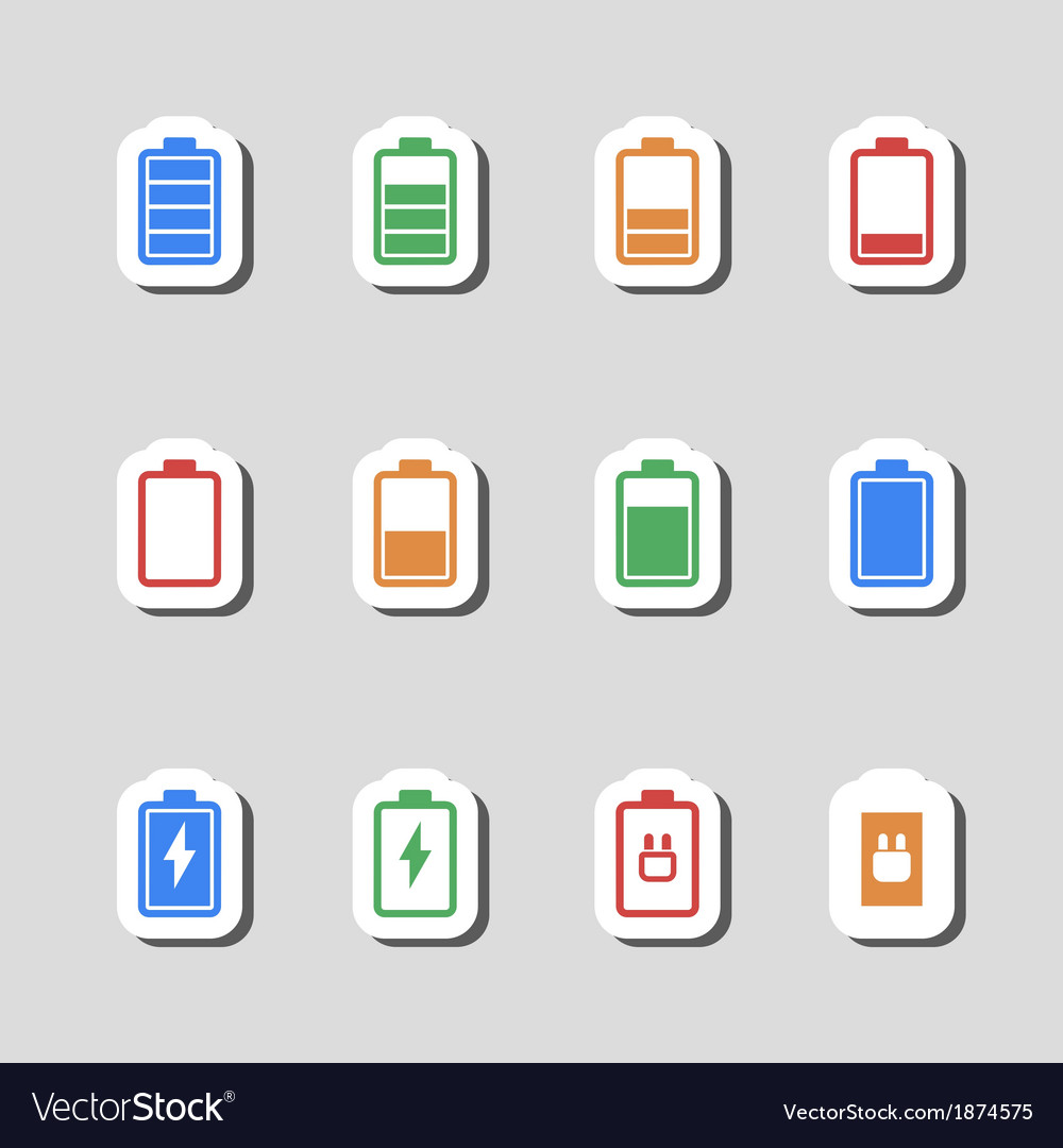 Battery icons set as labes vector | Price: 1 Credit (USD $1)
