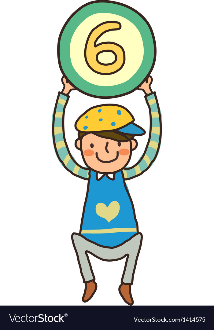 Boy holding number vector | Price: 1 Credit (USD $1)
