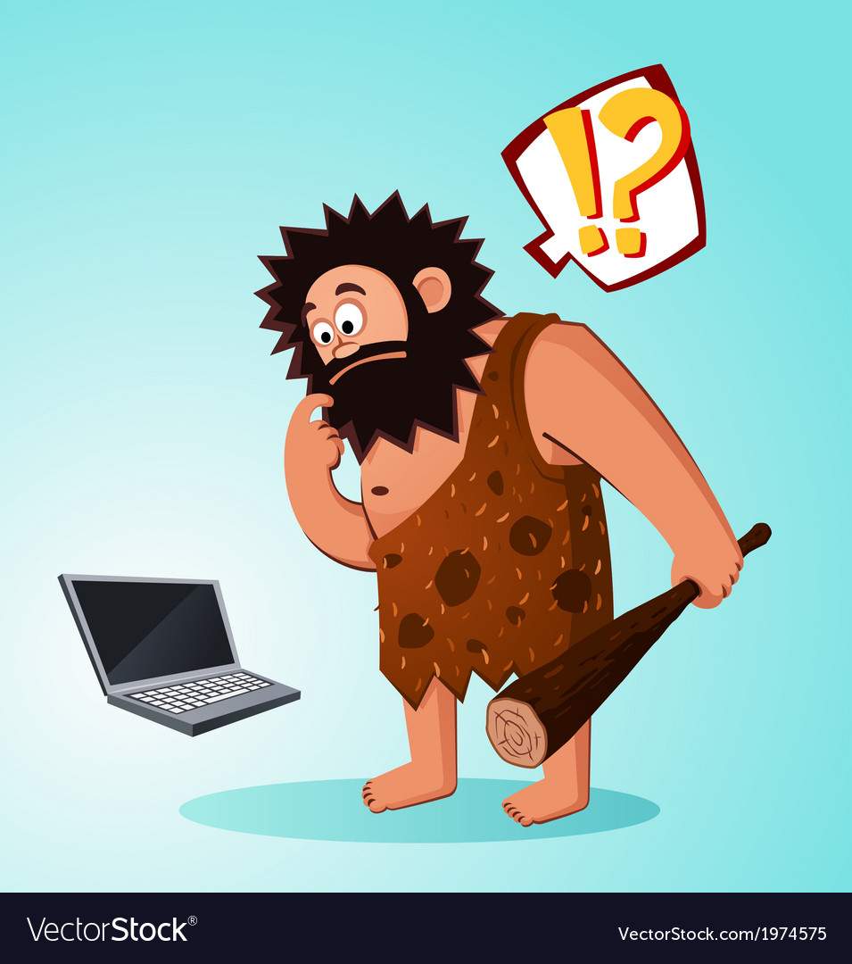 Caveman found a laptop vector | Price: 3 Credit (USD $3)