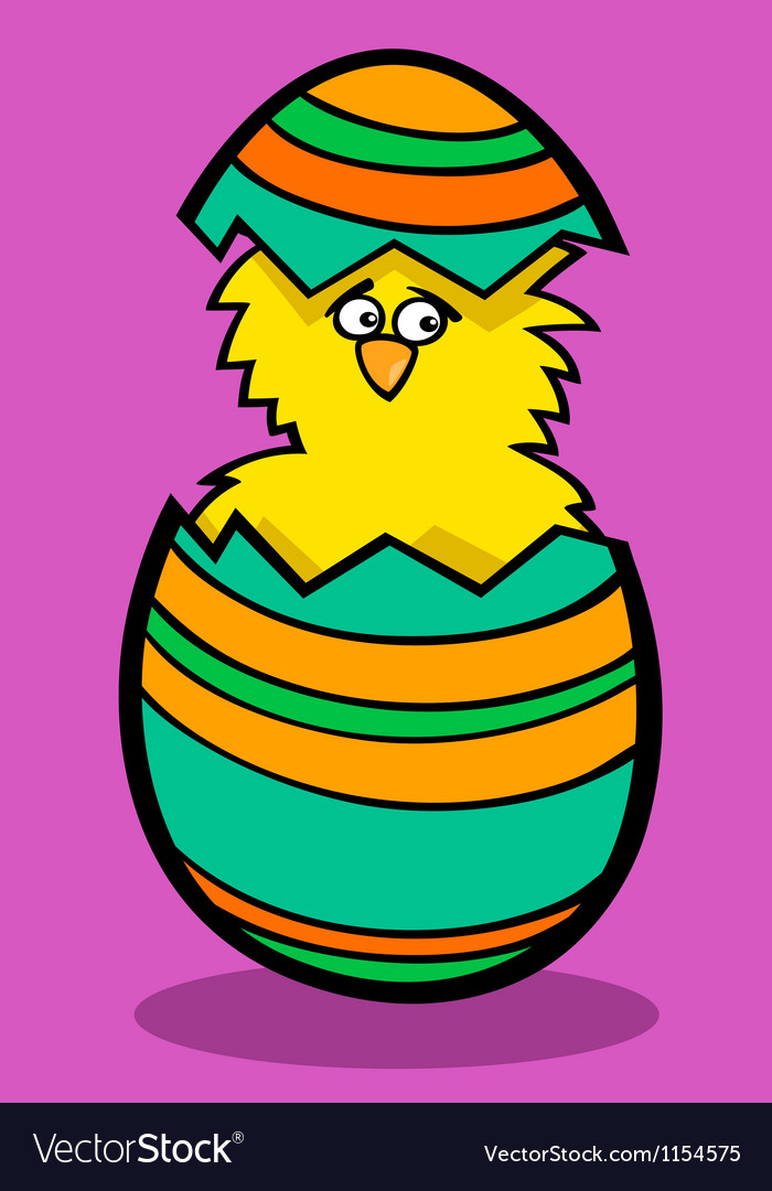 Chick in easter egg cartoon vector | Price: 1 Credit (USD $1)