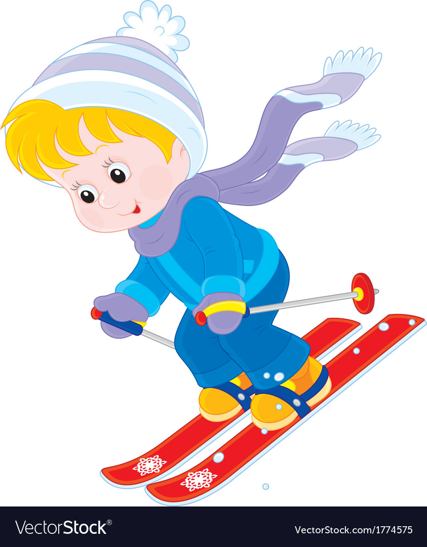 Child skiing vector | Price: 1 Credit (USD $1)