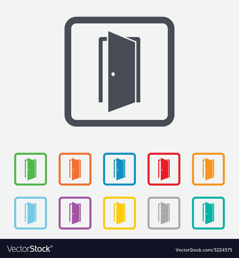 Door sign icon enter or exit symbol vector | Price: 1 Credit (USD $1)