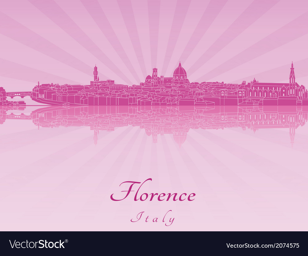 Florence skyline in purple radiant orchid vector | Price: 1 Credit (USD $1)