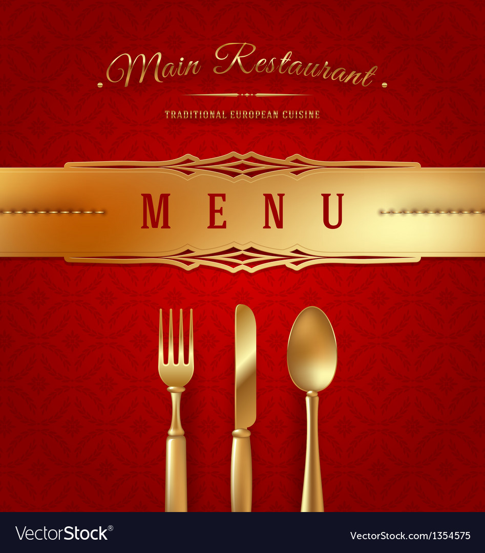 Menu cover with golden cutlery and decor vector | Price: 1 Credit (USD $1)