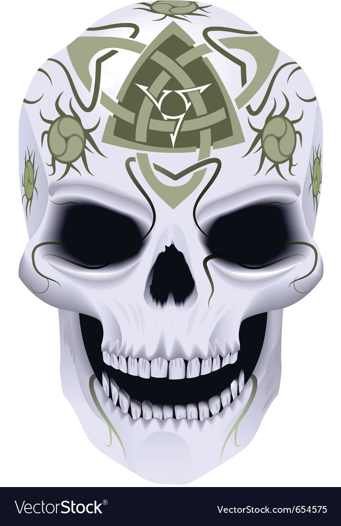 Skull with celtic tattoo vector | Price: 1 Credit (USD $1)