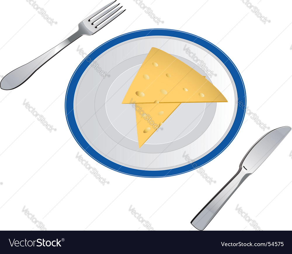 Slices of cheese on plate vector | Price: 1 Credit (USD $1)