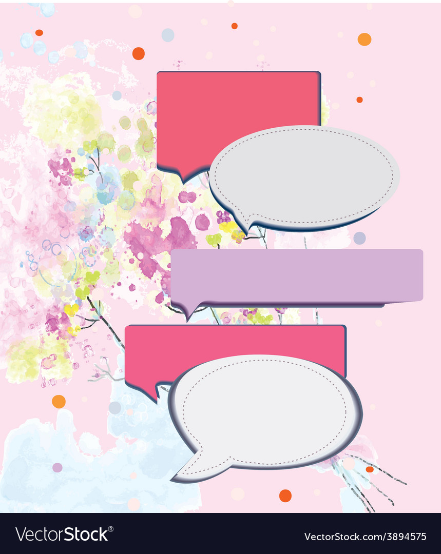 Speak frame on romantic floral background vector | Price: 1 Credit (USD $1)