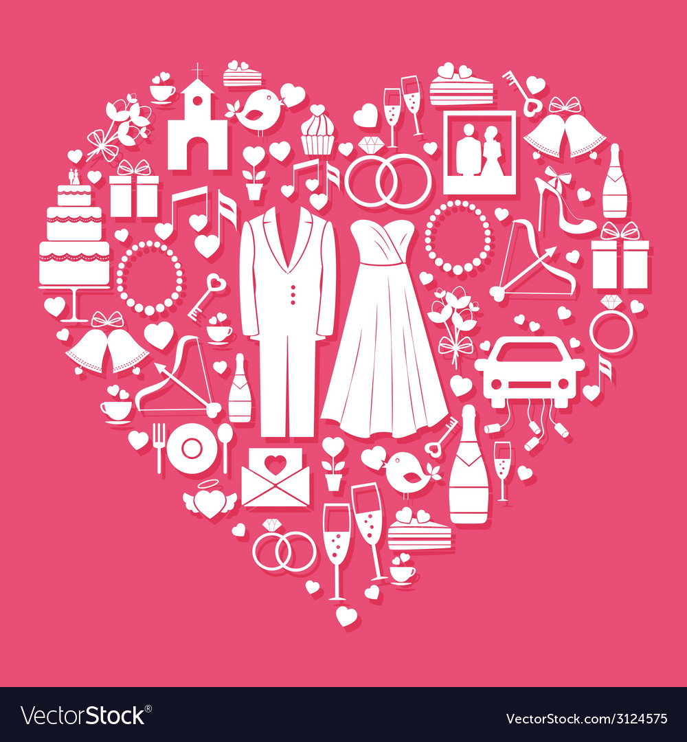 Wedding elements in the shape of a heart vector | Price: 1 Credit (USD $1)