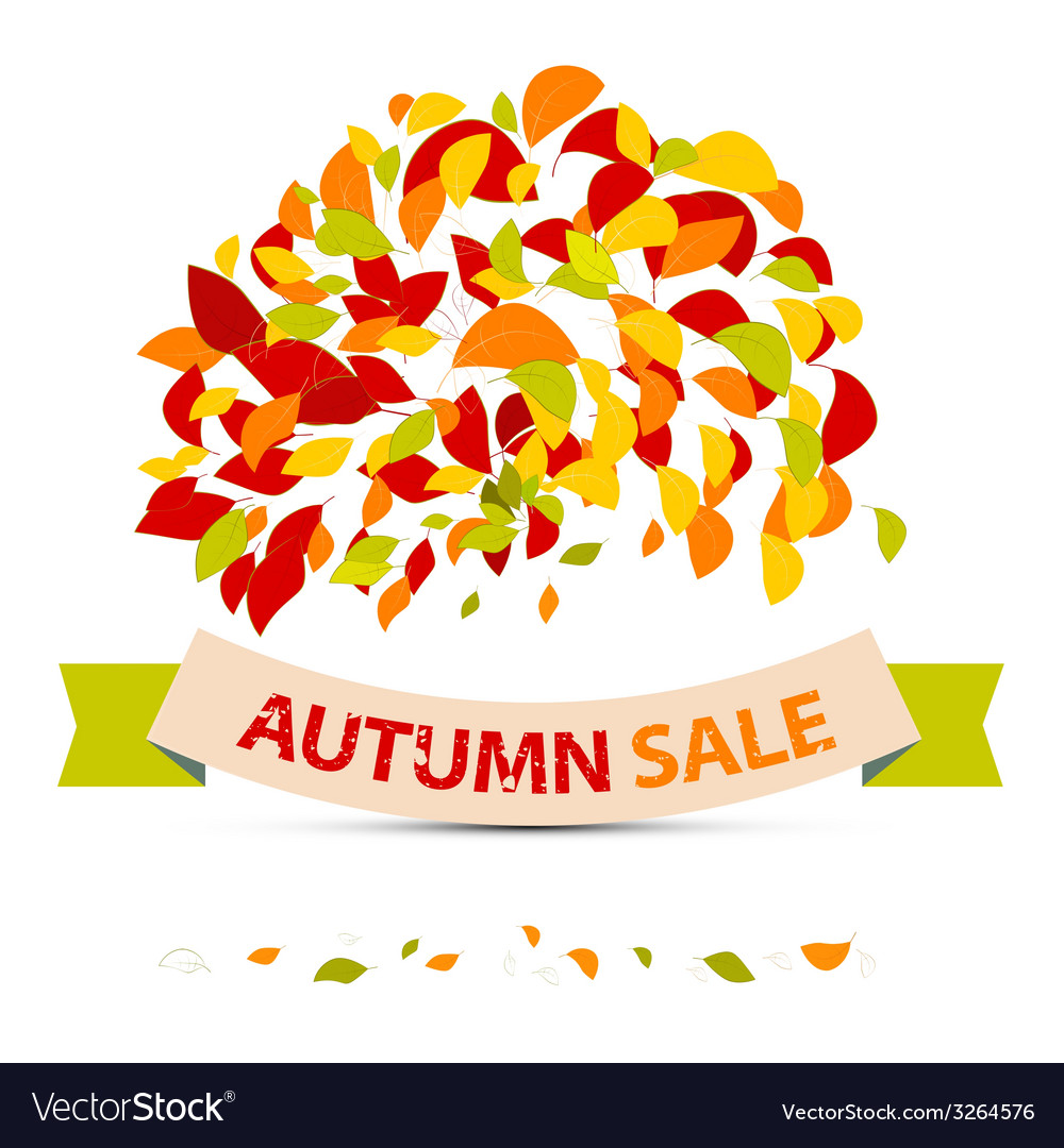Abstract autumn sale with leaves on white ba vector   Price: 1 Credit (USD $1)