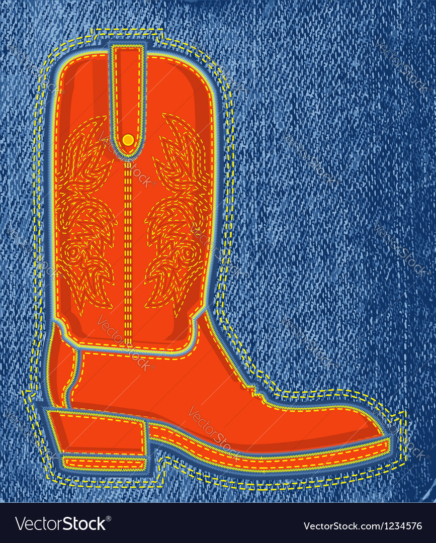 Cowboy shoe on blue jeans background boot symbol vector | Price: 1 Credit (USD $1)