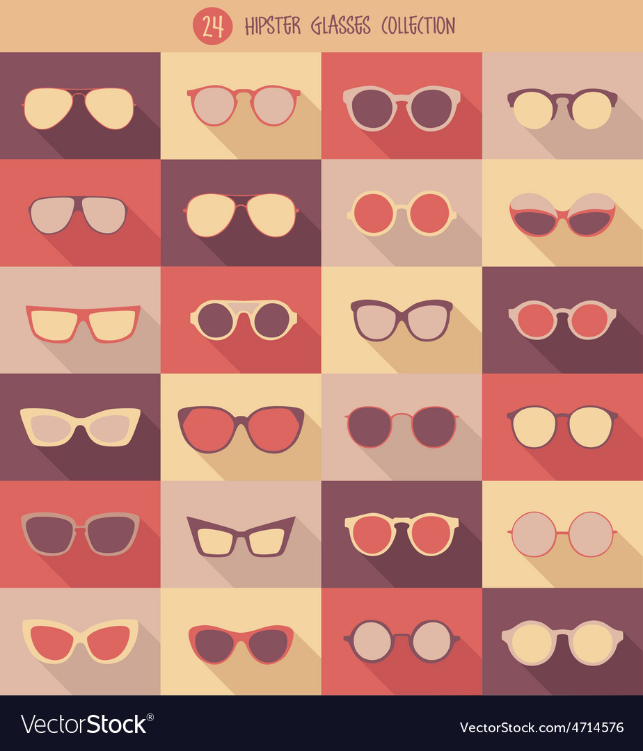 Glasses set hipster glasses vector | Price: 1 Credit (USD $1)