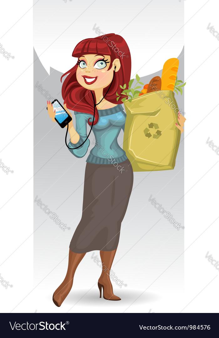 Healthy food lady vector | Price: 1 Credit (USD $1)