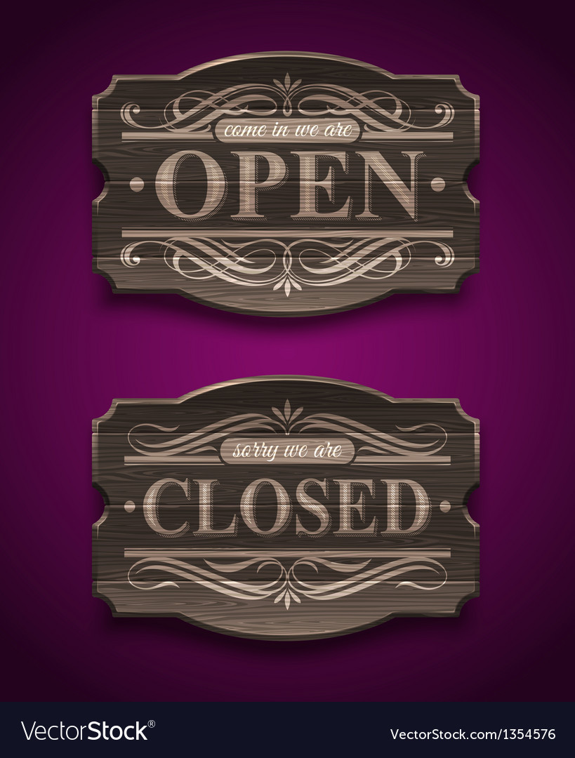 Open and closed wooden ornate vintage signs vector | Price: 3 Credit (USD $3)