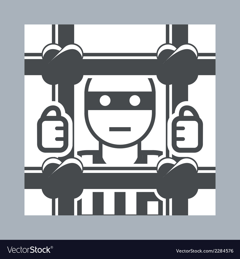 Prisoner behind bars vector | Price: 1 Credit (USD $1)