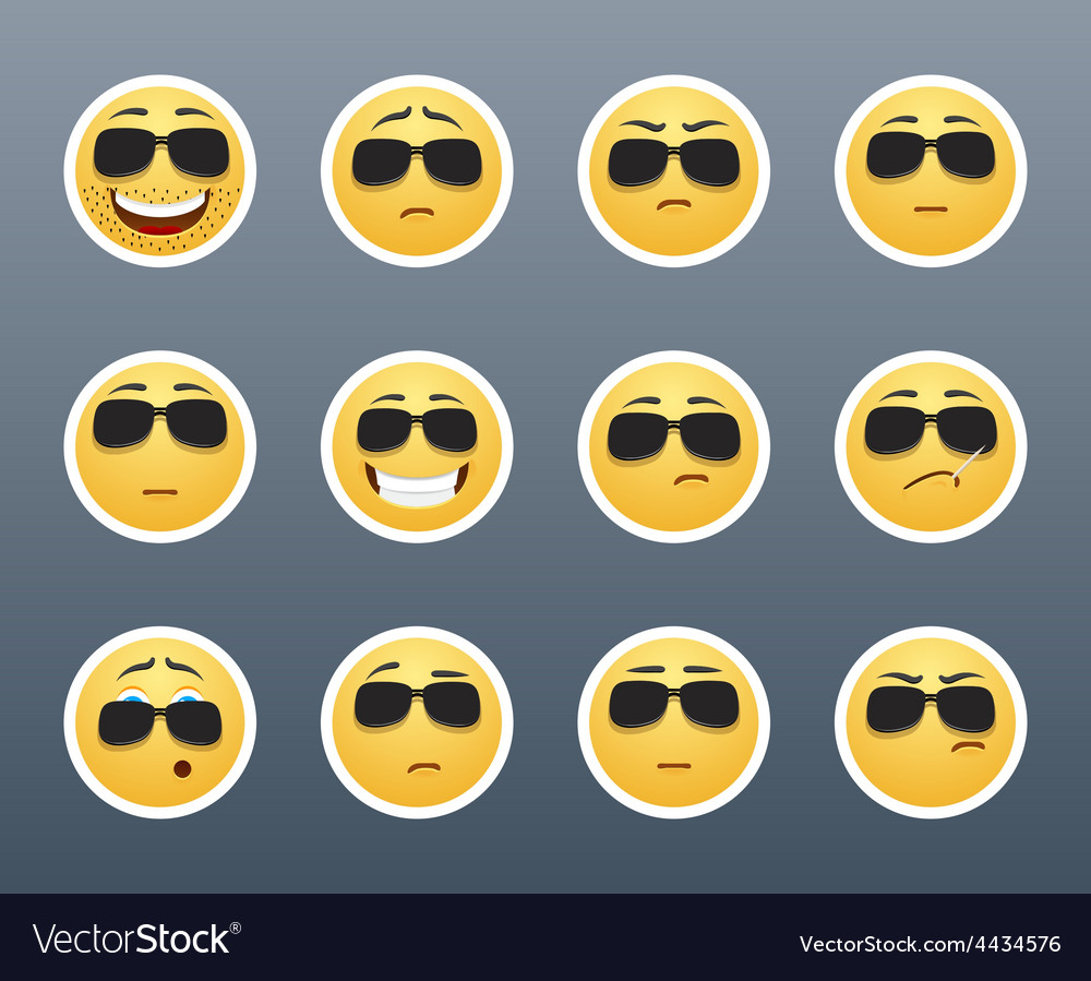 Serious smiley with glasses vector | Price: 1 Credit (USD $1)