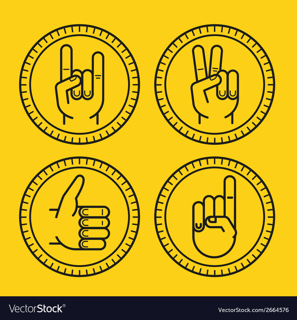 Set of outline icons on circle badges vector