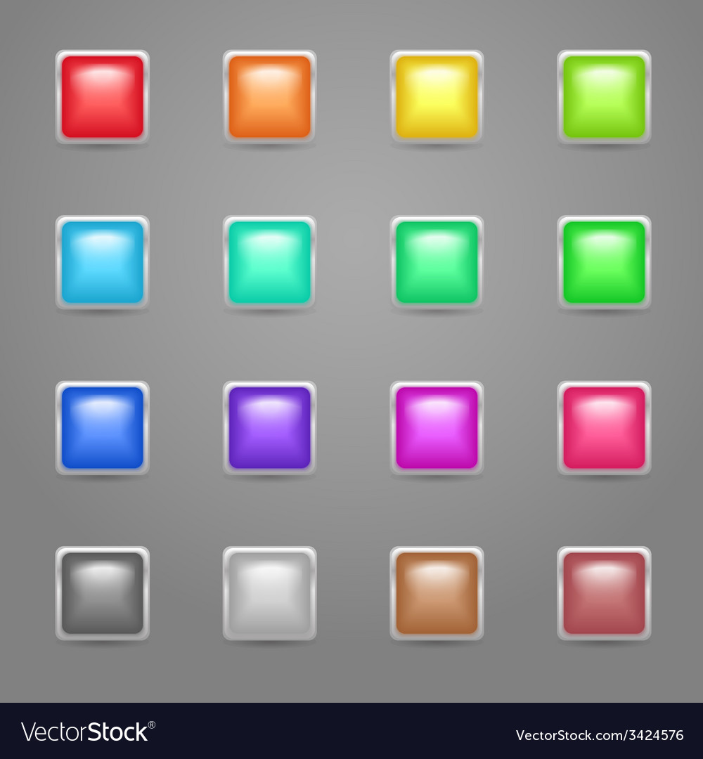 Square colored web buttons vector | Price: 1 Credit (USD $1)