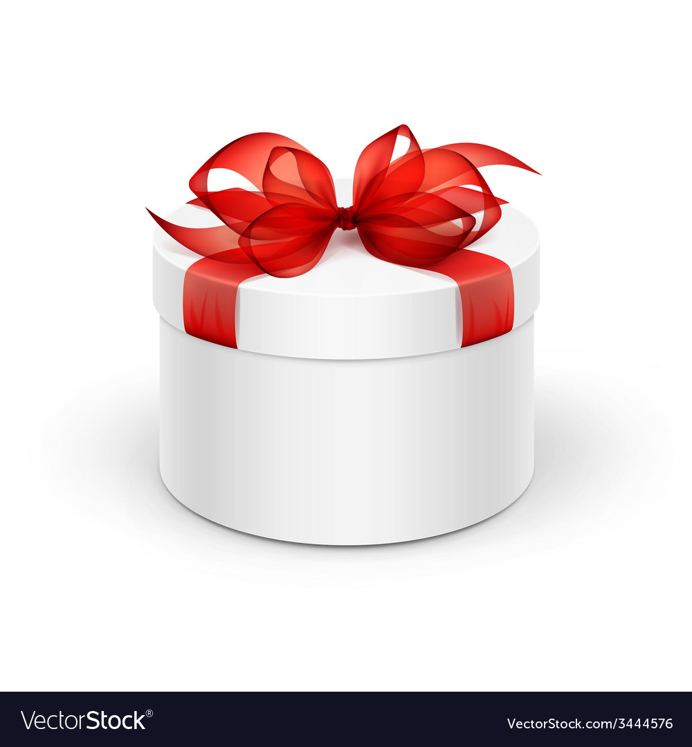 White round gift box with red ribbon and bow vector   Price: 1 Credit (USD $1)