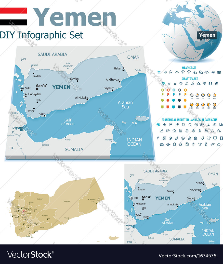 Yemen maps with markers vector | Price: 1 Credit (USD $1)