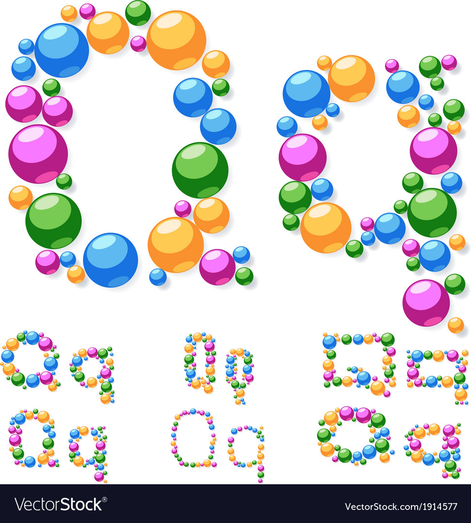 Alphabet symbols of colorful bubbles or balls vector | Price: 1 Credit (USD $1)