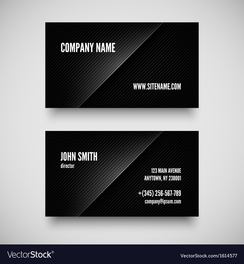 Black business card template vector