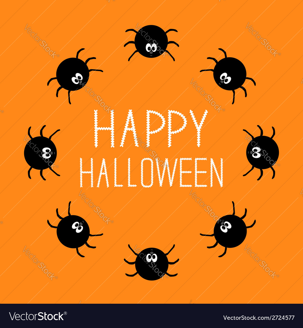 Cute cartoon spider round frame halloween card vector | Price: 1 Credit (USD $1)