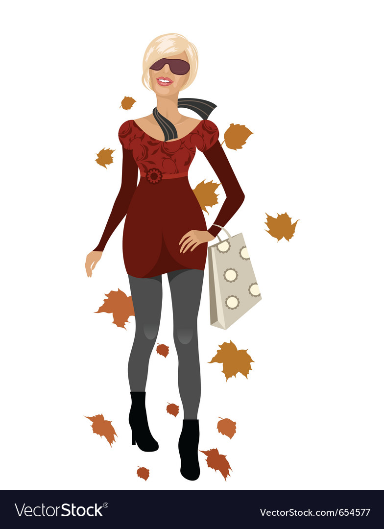 Elegant autumn girl isolated vector | Price: 3 Credit (USD $3)