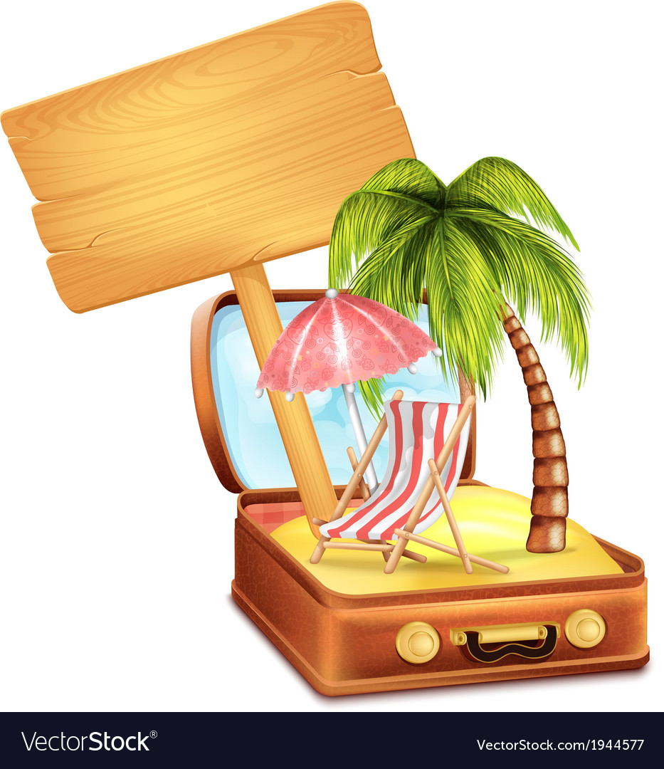 Holiday suitcase with wooden board vector | Price: 3 Credit (USD $3)