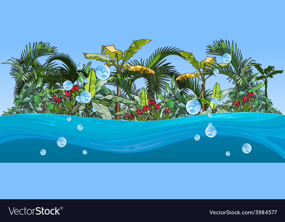 Island with palm trees and tropical plants vector | Price: 3 Credit (USD $3)