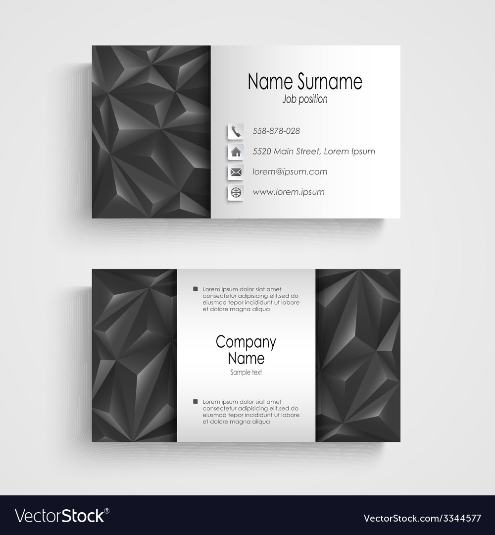 Modern triangle gray business card template vector | Price: 1 Credit (USD $1)