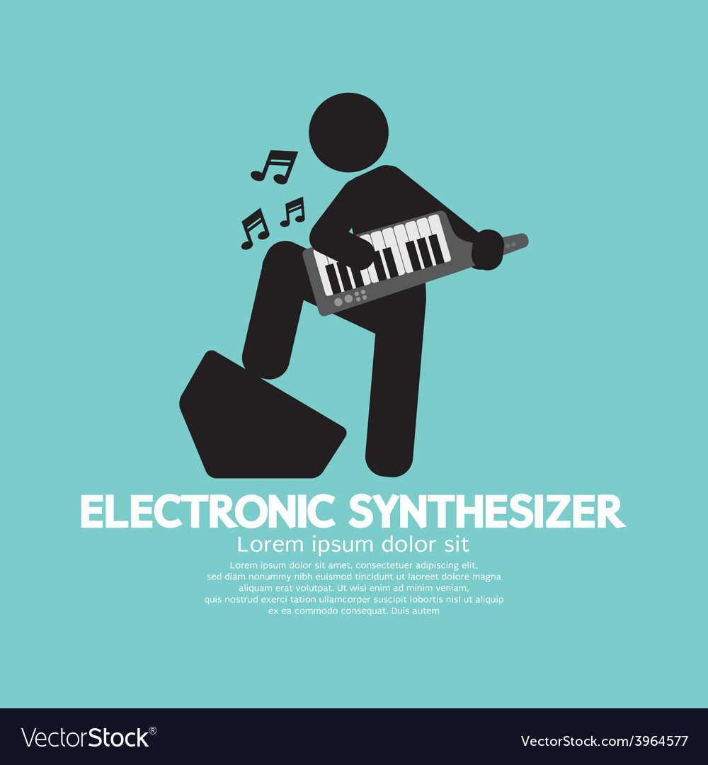 Musician playing an electronic synthesizer vector | Price: 1 Credit (USD $1)