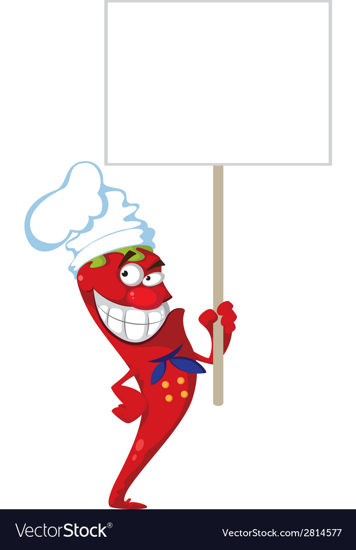 Pepper cook with blank sign vector | Price: 3 Credit (USD $3)