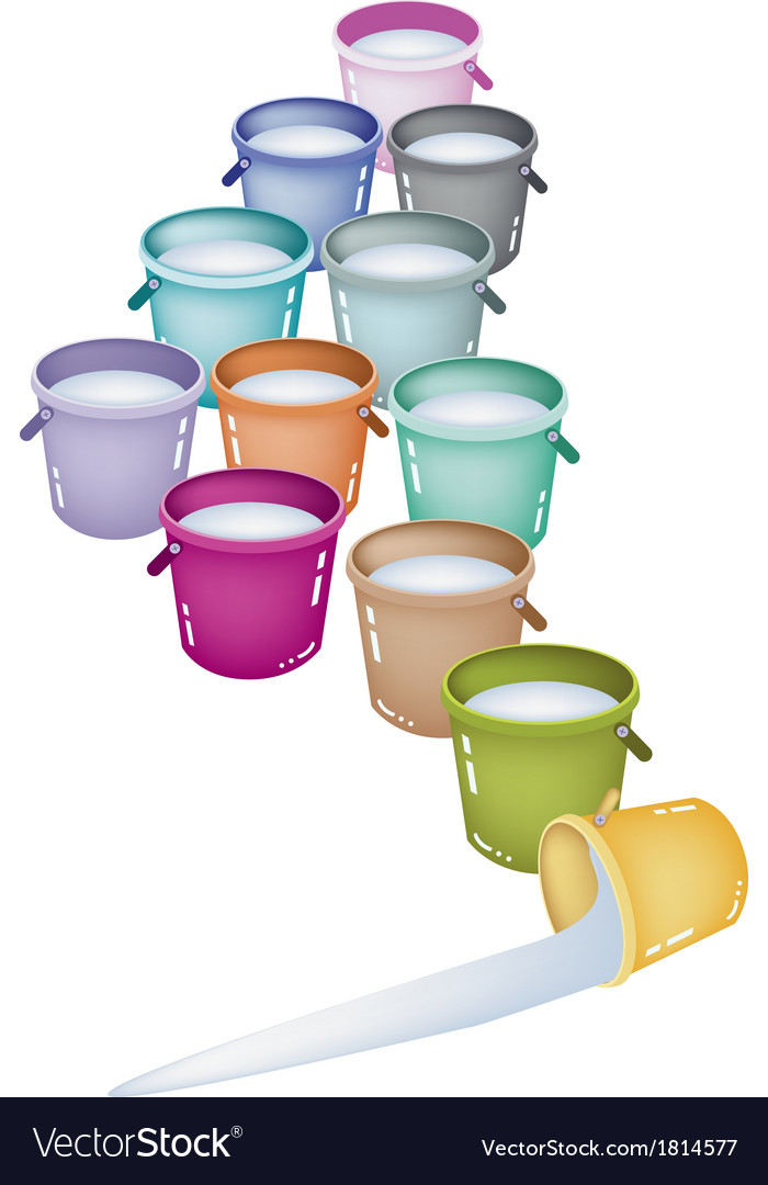 Set of twelve multicolored buckets vector | Price: 1 Credit (USD $1)