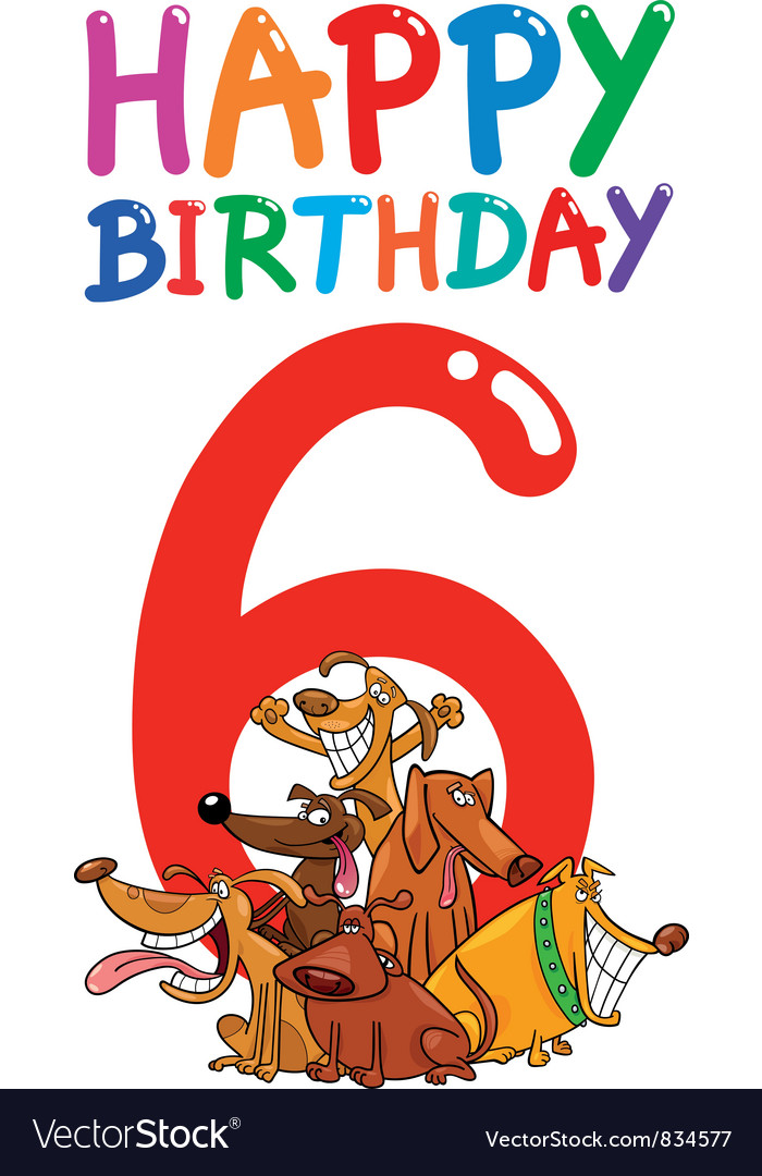 Sixth birthday anniversary card vector | Price: 3 Credit (USD $3)