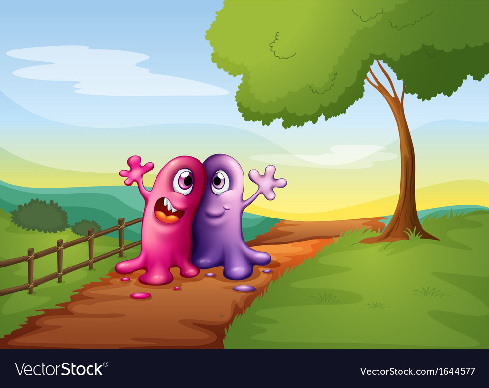 Two monsters walking at the pathway in the hilltop vector | Price: 3 Credit (USD $3)