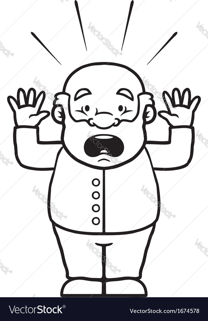 Black and white old man being shocked vector   Price: 1 Credit (USD $1)