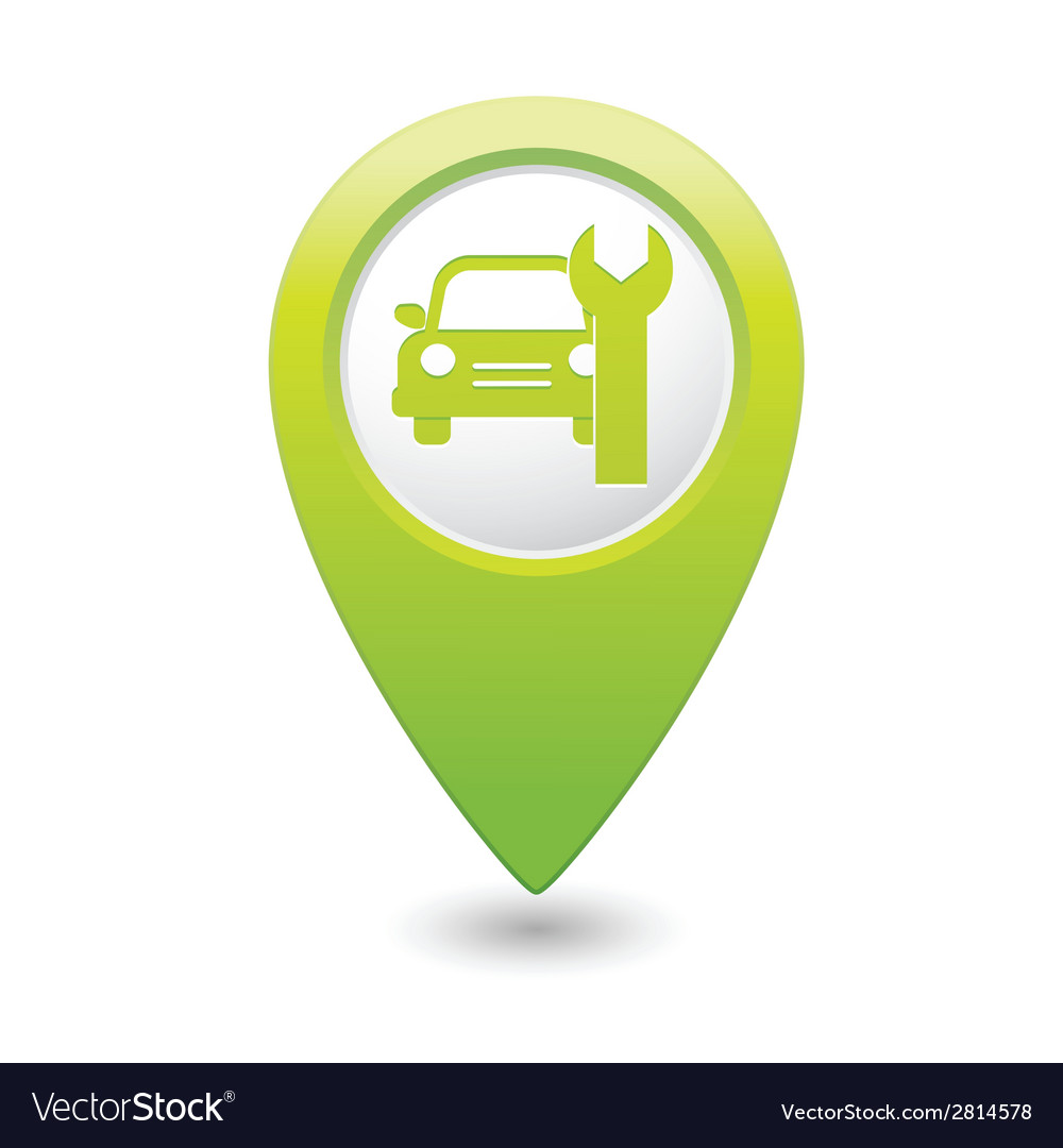 Car service icon on green map pointer vector | Price: 1 Credit (USD $1)