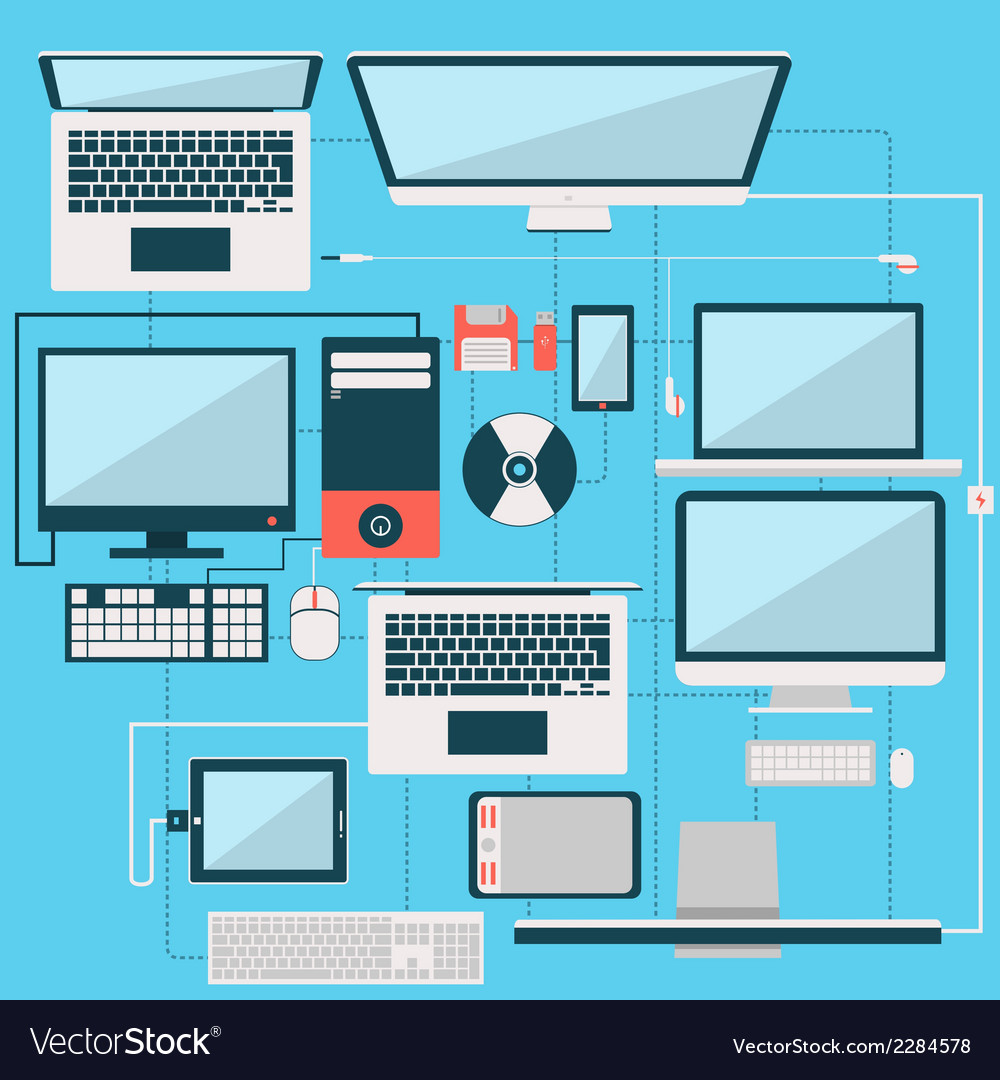Computer laptop and another gadget flat design col vector | Price: 1 Credit (USD $1)